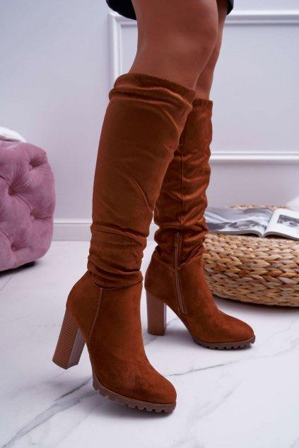 Dámske čižmy farba hnedá kód obuvi 9KZ35-1494 CAMEL