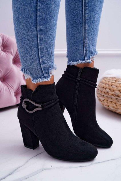Členkové topánky na podpätku farba čierna kód obuvi 36-1 BLK