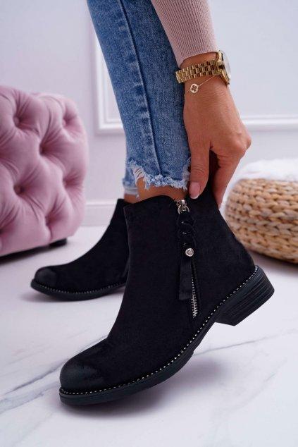 Dámske členkové topánky na nízkom podpätku čierne Barski 98-20
