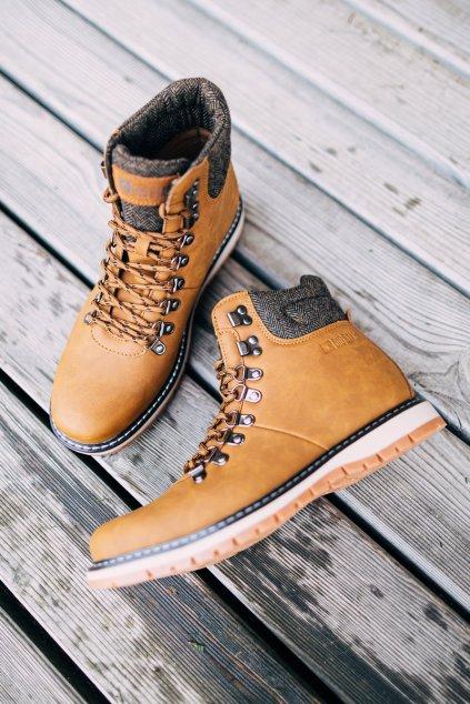 Pánske topánky na zimu farba hnedá kód obuvi EE174402 CAMEL