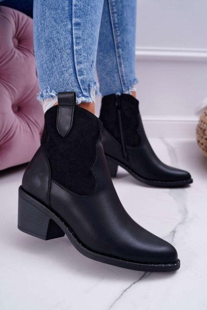 Dámske členkové topánky čierne Barski 30-20