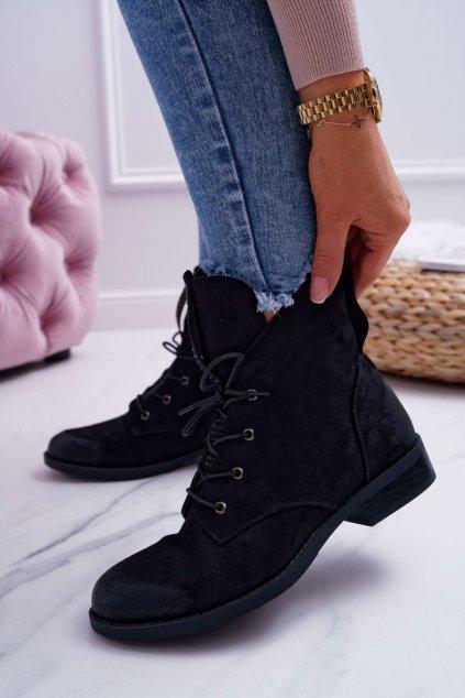 Dámske členkové semišové topánky Barski čierne 75-13
