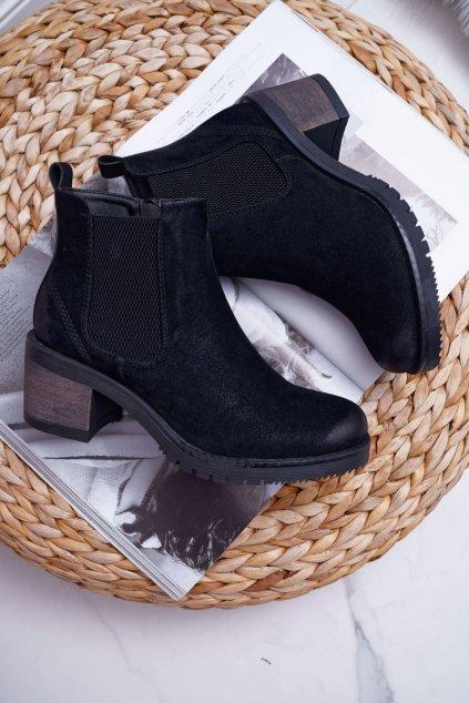 Členkové topánky na podpätku farba čierna kód obuvi BT702 BLK BROWN