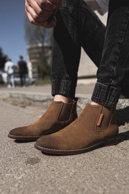 Pánske topánky na zimu farba hnedá kód obuvi EE1R4068C CAMEL