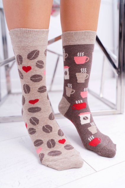 """Dámske ponožky SOXO Good Stuff """"každá iná"""" káva"""