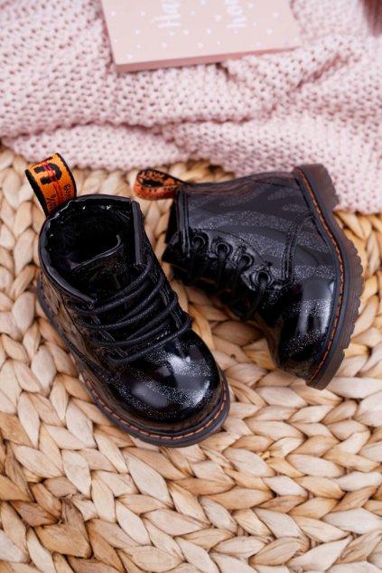 Detské členkové topánky farba čierna kód obuvi 20318-3A BLK