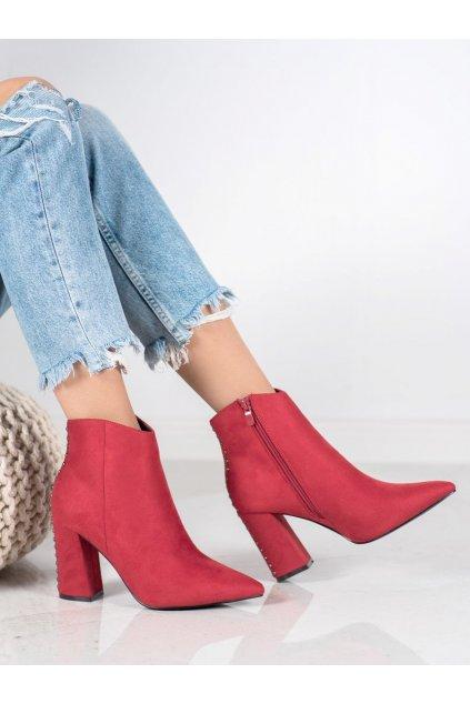 Červené dámske topánky na hrubom podpätku Seastar kod RB23R