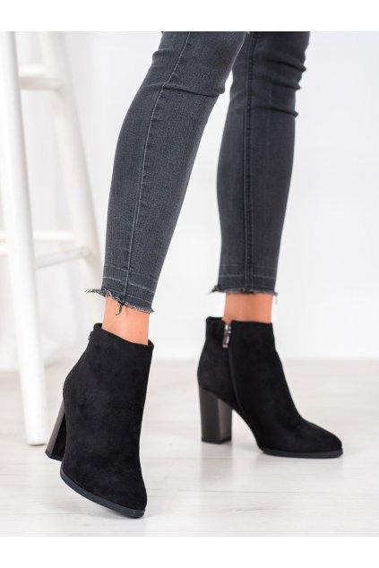 Čierne dámske topánky na hrubom podpätku Goodin kod GD-FL2002B