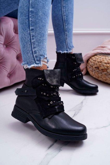Dámske členkové topánky zateplené čierne Debra