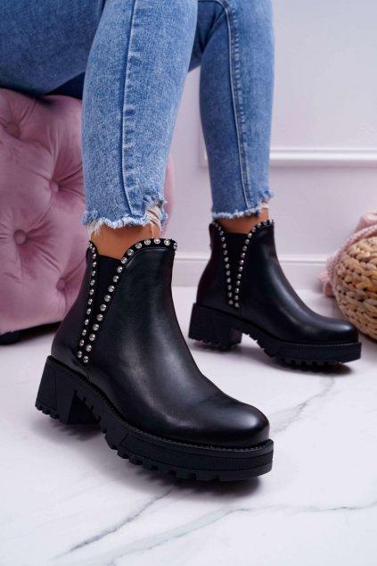Dámske topánky so zirkónmi čierne Sissy