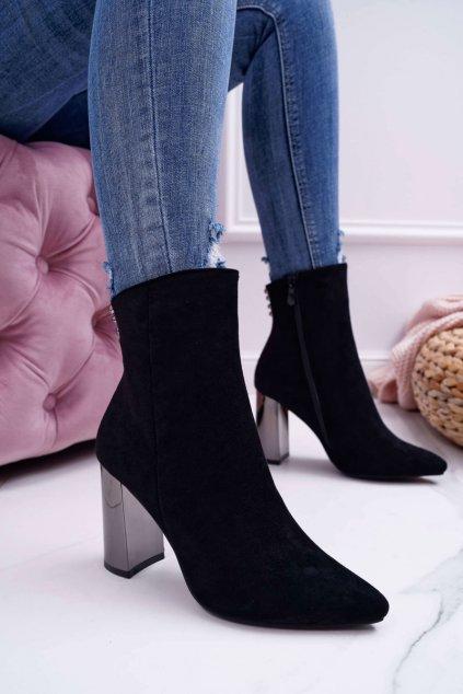 Dámske členkové topánky na striebornom podpätku čierne Dimmy