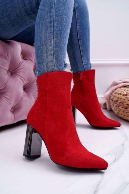 Dámske členkové topánky na striebornom podpätku červené Dimmy