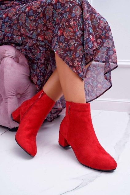 Členkové topánky na podpätku farba červená kód obuvi 7BT35-0048 RED