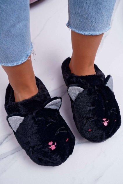 Dámske papuče mačka s ušami čierne Sleppyhead