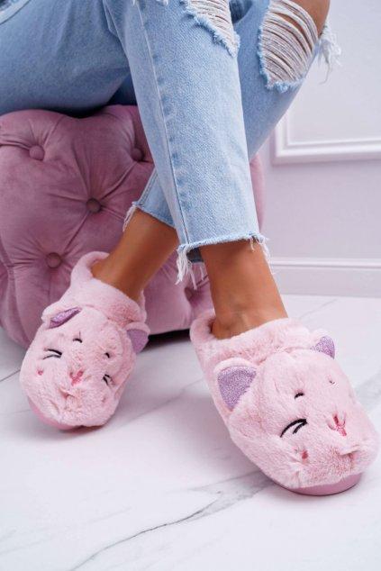 Dámske papuče mačka s ušami ružové Sleppyhead