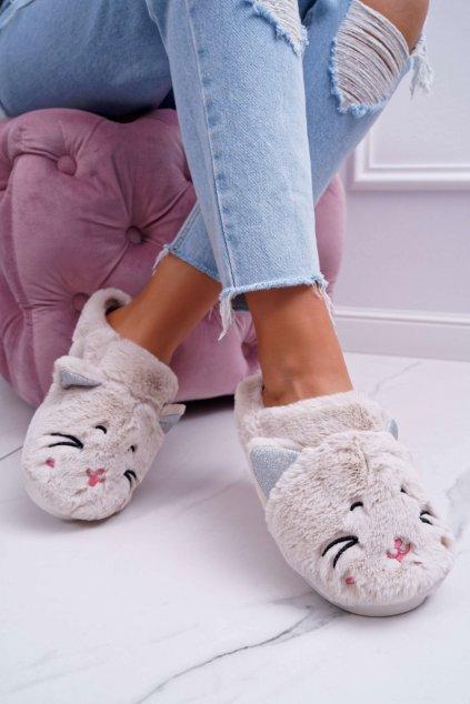 Dámske papuče mačka s ušami biele Sleppyhead