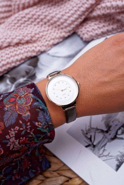 Dámske hodinky sivé kryštály Maniaq
