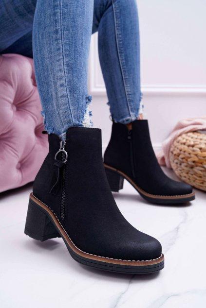 Dámske členkové topánky na podpätku zateplené Plstí čierne Delia