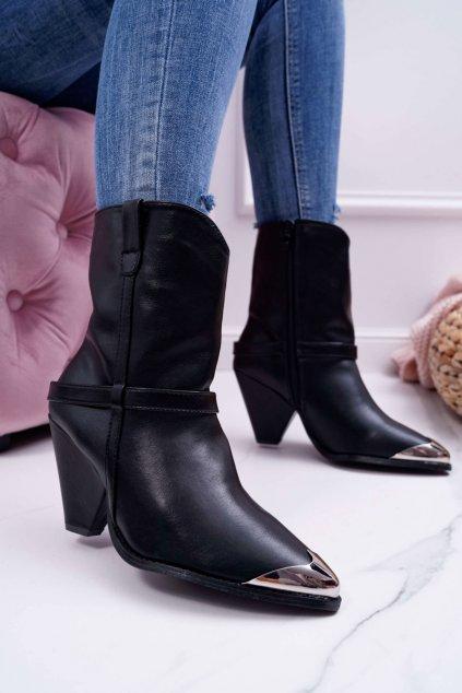 Dámske členkové topánky na podpätku čierne Make Feel