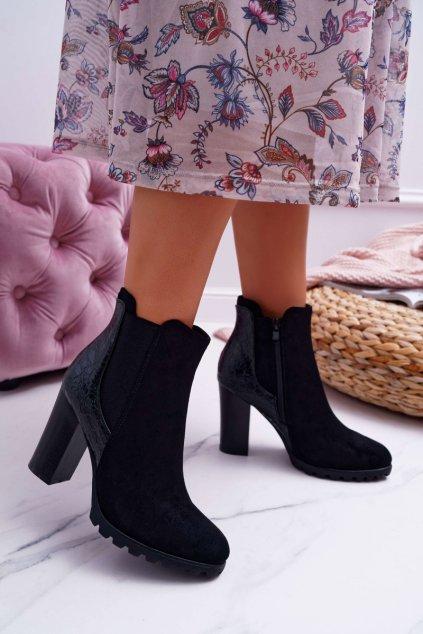 Dámske členkové topánky na podpätku čierne Mondego