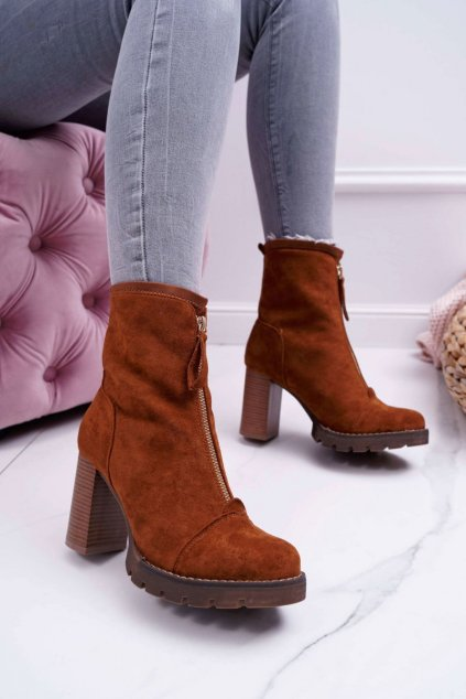 Členkové topánky na podpätku farba hnedá kód obuvi M339-1 CAMEL