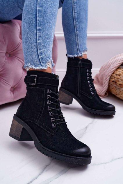 Členkové topánky na podpätku farba čierna kód obuvi BT705 BLK NUBUCK
