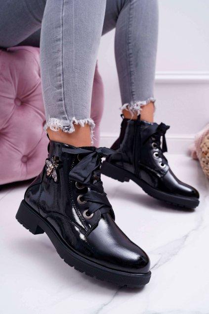 Dámske lakované členkové topánky čierne Sergio Leone BT530