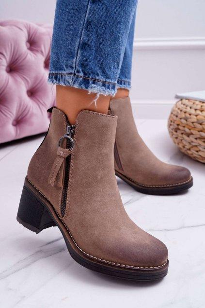 Členkové topánky na podpätku farba hnedá kód obuvi Z1125 BEIGE