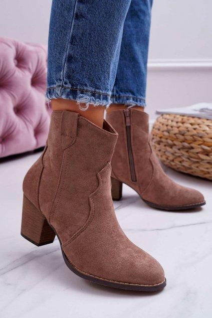 Členkové topánky na podpätku farba hnedá kód obuvi 100-975 KHAKI