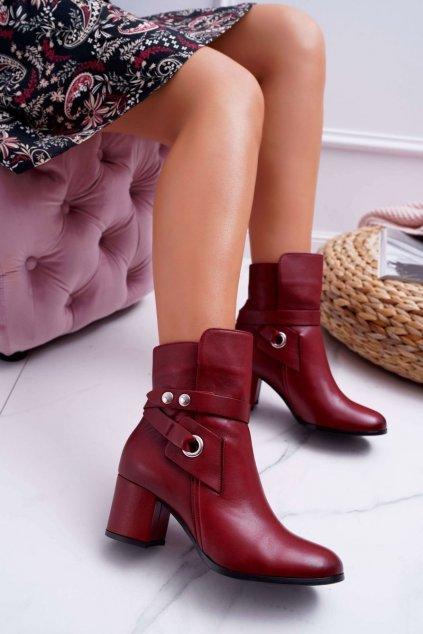 Dámske členkové topánky Kožené Červené 1820 Laura Messi