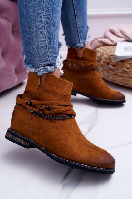 Dámske ťavia členkové topánky semišové Mirley