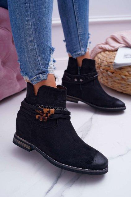 Dámske členkové topánky semišové čierne Mirley