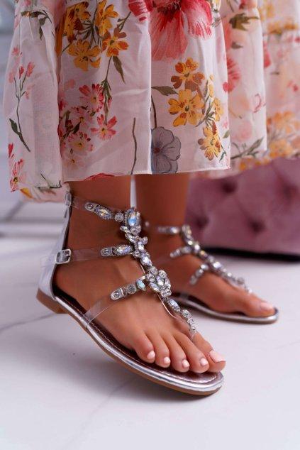 Dámske sandále na podpätku strieborné Ywena H-6585