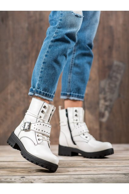 Biele dámske topánky na plochom podpätku Goodin kod GD-WL-20W