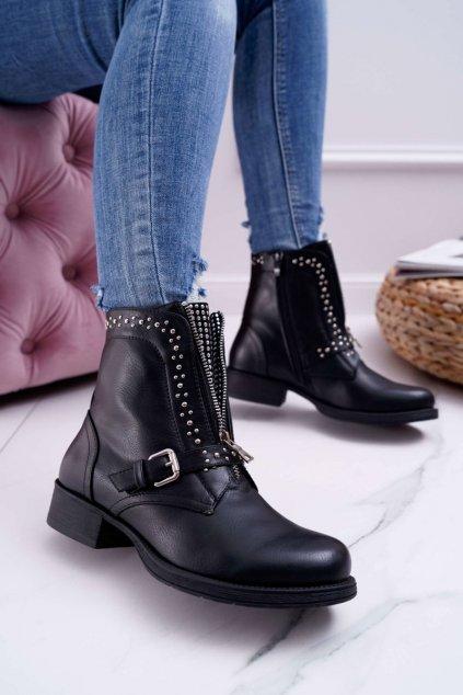 Dámske členkové topánky čierne Hard Way