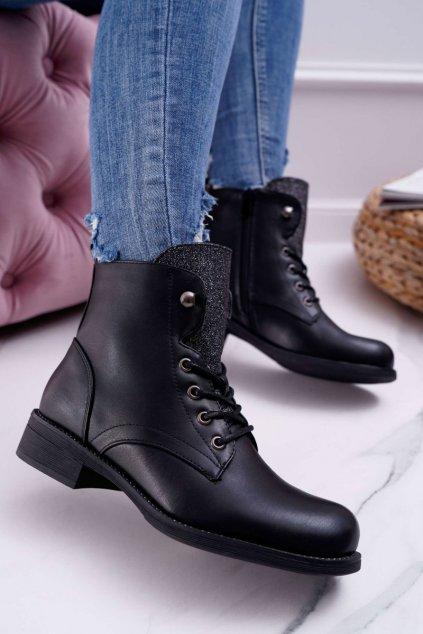 Dámske členkové topánky čierne Flumen