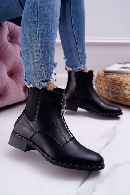 Dámske členkové topánky s ozdobným zipsom čierne Vermina