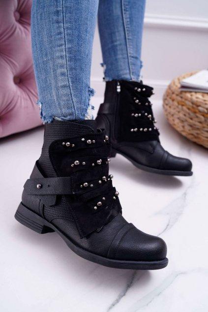 Dámske členkové topánky čierne Valko