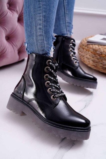 Dámske lakované členkové topánky čierne Sergio Leone TR726