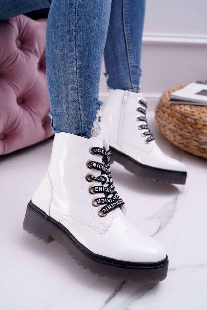 Dámske členkové topánky Lakované biele Sergio Leone TR726