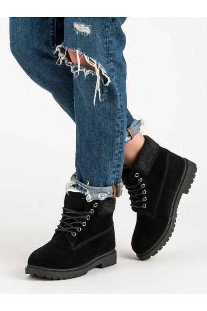 Čierne traperky na plochom podpätku Original walkman shoes kod 37211B