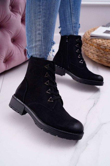 Dámske členkové topánky Nubuk čierne Sergio Leone TR718