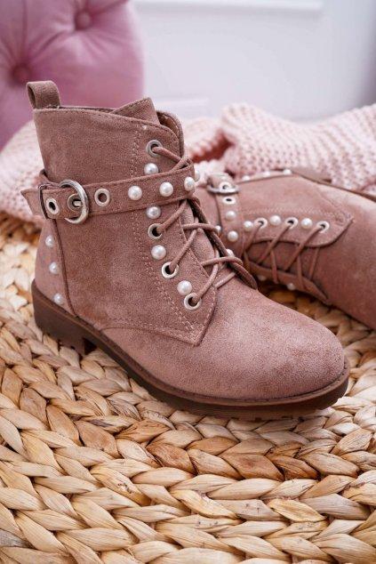 Detské členkové topánky farba hnedá kód obuvi KID069 KHAKI