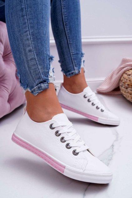 Dámske biele  tenisky s ružovým prúžkom Nigrid2