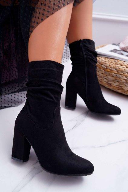 Dámske členkové topánky na podpätku Semišové čierne S.Barski 36-14