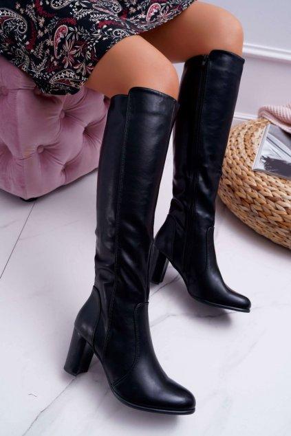 Dámske čižmy farba čierna kód obuvi KZ275 BLK PU