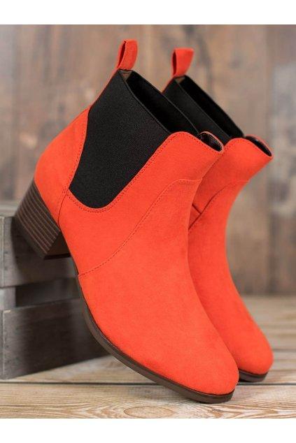 Oranžové dámske topánky na hrubom podpätku Kylie kod K1938603ROJO