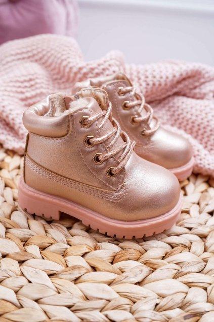 Detské členkové topánky farba ružová kód obuvi 20306-1H/2H/3H CHAMPAGNE