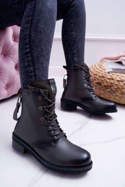 Dámske členkové topánky B. Star Kožené sivé EE274507