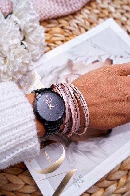 Dámsky kožený náramek ružový s kryštálmi Michiko